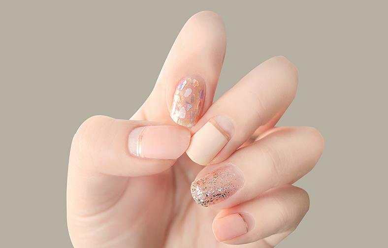 이니스프리-글로스 젤네일 스트립-14호 살구빛 꽃가루