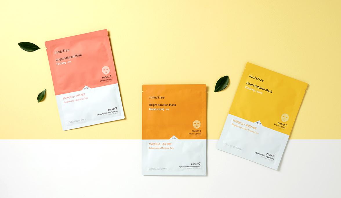 이니스프리 - 브라이트 솔루션 마스크 22mL - 비타민 C가 코팅된 시트에 에센스를 사용 직전 터트려 칙칙해진 피부를 환하게 가꾸어 주는 비타민 광채 마스크