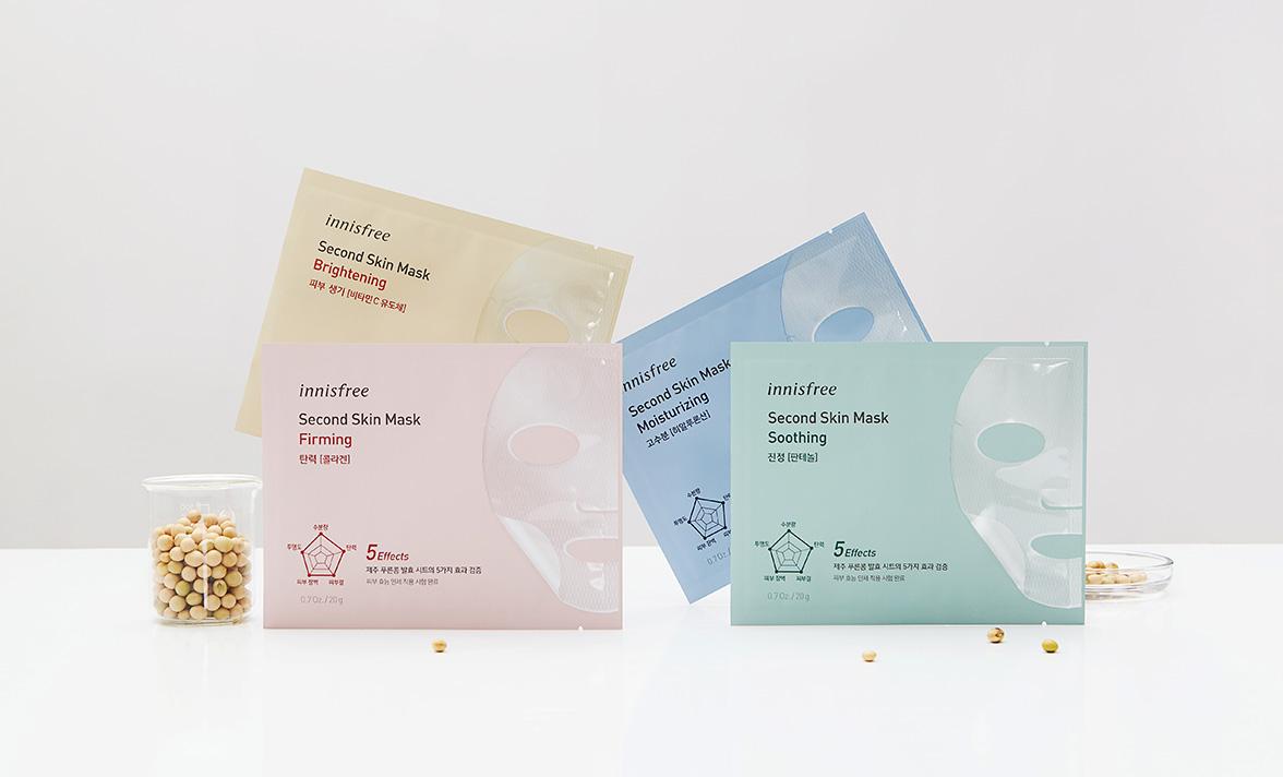 이니스프리 - 세컨드 스킨 마스크 20g - 제 2의 피부처럼 빈틈없이 피부에 밀착되는 5-IN-1 효과의 제주 푸른콩 발효 마스크