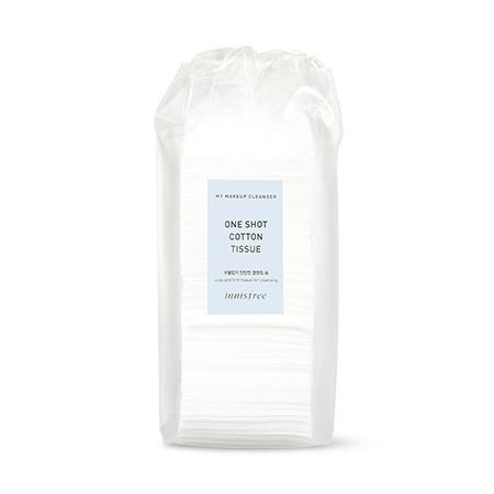 이니스프리 마이 메이크업 클렌저 - 원샷 코튼 티슈 75매 - 보풀없이, 탄탄한솜, 한솜클렌징, 도톰한, 화장솜