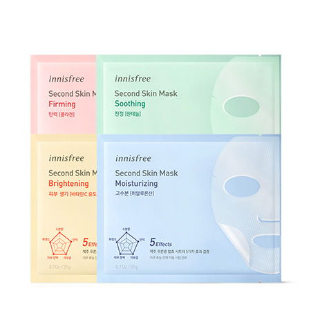 이니스프리 세컨드 스킨 마스크 20g - 제2의피부, 5가지효과, 제주푸른콩발효시트, 밀착력, 영양